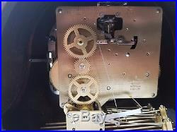 Sligh Westminster Mahogany Mantel Clock, German Frankz Hermle Movement, 3 Chimes