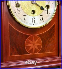 Small Vintage German 8 Day Franz Hermle Mahogany Westminster Chime Mantel Clock