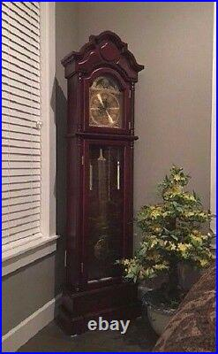 Traditional Grandfather Clock Wood Cherry Vintage Westminster Chime Pendulum
