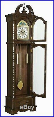 Traditional Grandfather Clock with Westminster Clock Chimes & Pendulum, Brown