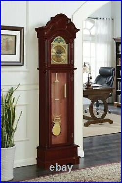 Traditional Style Brown Cherry Finish Chiming Battery Powered Grandfather Clock