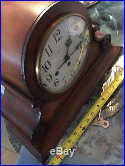 Unique Franz Hermle Ethan Allen Westminster Chime Mantel Clock. Antique Finish