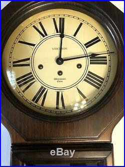 VERICHRON Wall Clock Westminster Chime with Key Vintage Wood Case