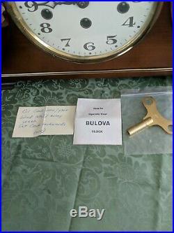 VINTAGE Bulova Westminster 4 Chime Mantel Clock Key Wind 2 Jewel Made in Germany