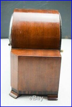 VINTAGE C. 1930s HALLER MAHOGANY WHITTINGTON & WESTMINSTER CHIME MANTEL CLOCK