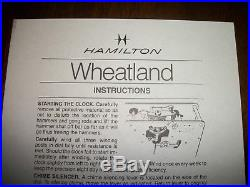 VINTAGE HAMILTON Wheatland WESTMINSTER CHIME SHELF/MANTLE CLOCK & KEY-WORKS