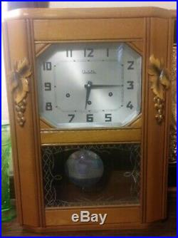 Vedette Art Déco French Wall Clock Regulator Westminster 1/4 Hour Chime