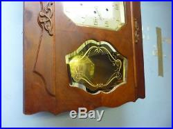 Vedette Art Deco Walnut Cased Westminster Chime Wall Clock In Working Order