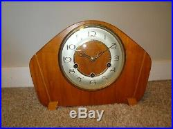 Vintage 1950's Smiths 8 Day Oak Mantel Clock Westminster Chime (Key Pendulum)