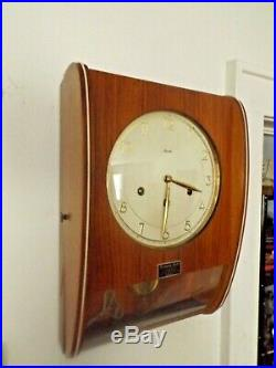 Vintage 1960s Mauthe Westminster Chimes Danish Modern Wall Clock German 8 Day
