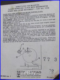 Vintage 8 Day Seth Thomas Moon Mantle Clock Westminster Chimes Original Box /key