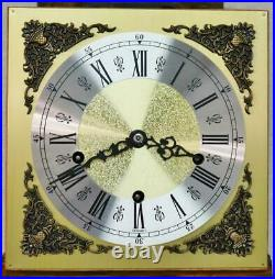 Vintage 8 Day Walnut & Marquetry Inlaid Musical Westminster Regulator Wall Clock
