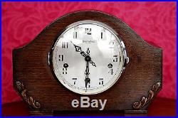 Vintage Art Deco'Bravingtons Renown' Oak Mantel Clock with Westminster Chimes