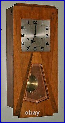 Vintage Art Deco Geometric Skyscraper Wall Westminster Chime Clock Works 29 x13