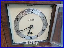 Vintage Art Deco wooden Garrard mantle clock with balance & Westminster chimes