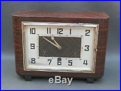 Vintage Art Deco wooden HAC mantle clock with balance & Westminster chimes