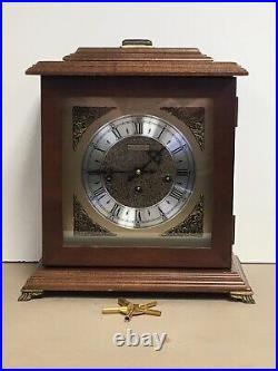 Vintage Bulova 340-020 Chime 8 Day Wind Mantel Clock #81 West Germany 21J With Key