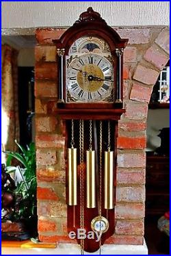 Vintage Dutch WARMINK Wall Clock with Westminster Chimes, Moonphase & Calendar