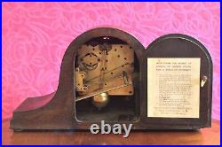 Vintage English 8-Day Mantel Clock with Westminster Chimes & Manual