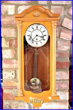 Vintage English'William Widdop' 8-Day Wall Clock with Westminster Chimes