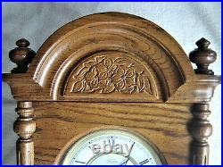 Vintage Ethan Allen Oak Regulator Wall Clock Westminster Chime German Movement