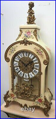 Vintage FHS Boulle Westminster Chime 8 Day Mantle Clock & Stand Versailles 1980