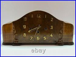 Vintage German Art Deco Mid Century Modern Westminster Chime Mantel Shelf Clock