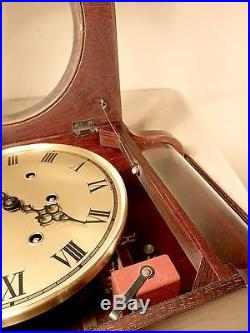 Vintage German Mauthe Westminster Chime Wall Clock with Serpentine Bottom Glass