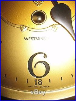 Vintage Germany Linden Westminster Chime 8 Day Wall Clock Key Wound SEE VIDEO