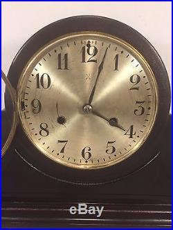 Vintage Hamburg American Clock Co Tambour Case Clock Running Westminster Chimes
