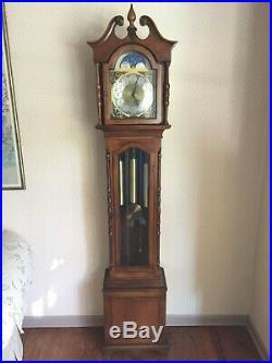 Vintage Hamilton Grandfather Clock Cherry Case Westminster Chimes Runs