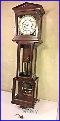 Vintage Hamilton Reg Wall Clock with Westminster Chimes Weights & Spring Driven