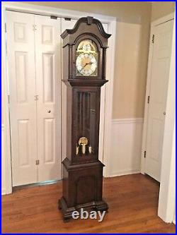 Vintage Herschede Grandfather Clock Westminster Chimes Runs Strikes & Chimes