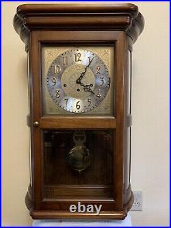 Vintage Howard Miller 3 Chime Oak Wall Clock Model 612-324Westminster