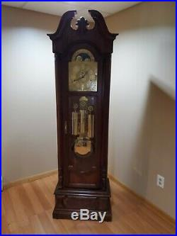 Vintage Howard Miller Grandfather Clock Manufactured approx 1988 Slightly used