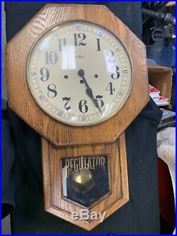 Vintage Howard Miller Regulator Wall Clock 8 Day WithKey Westminster Chime