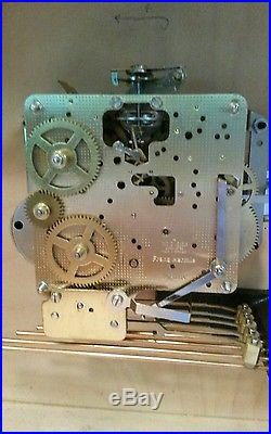 Vintage Howard Miller white oak Mantle Clock Westminster chimes running, Hermle