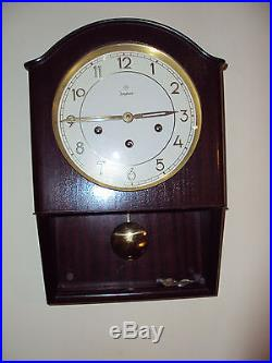 Vintage Junghans Art Deco Westminster chime wall clock running needs lower glass