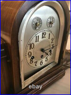 Vintage Junghans Working Mantel Clock Timelsss Tambour Style Mahogany Case
