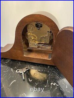 Vintage Key Wind Bulova Westminster Chime Mantle Clock 18x 9.25x 4.75 Works