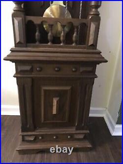 Vintage Kieninger German Westminster Chime Open Well Deco Grandfather Clocks