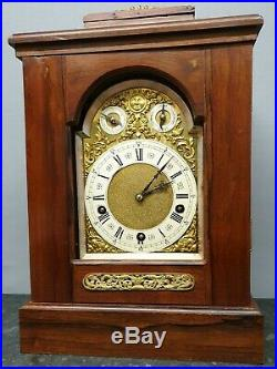 Vintage Large Lenzkirch Mahogany 8 Day Table Clock with Westminster Chimes