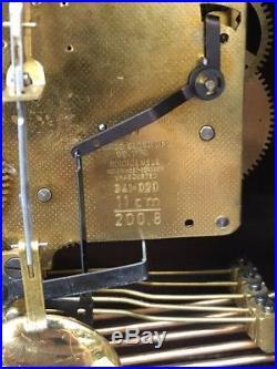 Vintage Linden Cuckoo Clock Germany Westminster Chime 8 Day Mantle Wind + Key
