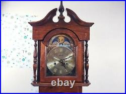 Vintage Marquetry Style Westminster Chime Lincoln Longcase Grandmother Clock
