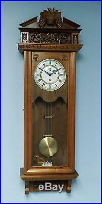 Vintage Modern German Westminster Chime Highly Carved Large Wall Clock Serviced