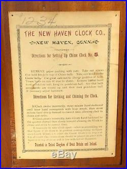 Vintage New Haven Westminster Chime Clock No. 5 Mantle Clock