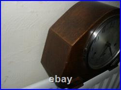 Vintage, Oak Mantle Clock With Westminster Chime