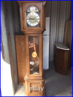 Vintage Pearl Grandfather Clock Tempus Fugit w Hermle Movement Westminster Chime