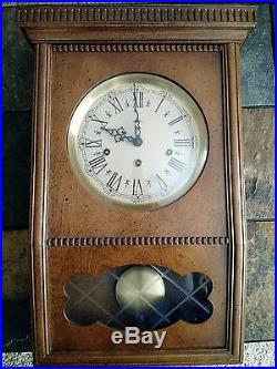 Vintage Rare Westminster Chime Wall Clock With Key Made In Germany