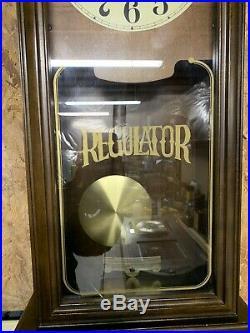 Vintage Regulator Wall Clock Hamilton Westminster Chime Large Wood Case